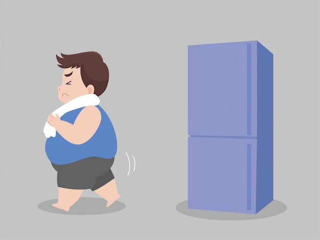 Big fat man hungry try to not eat food and walk away from refrigerator Premium Vector