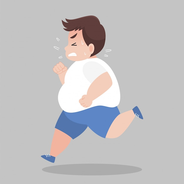 Big fat man running want to lose weight Premium Vector