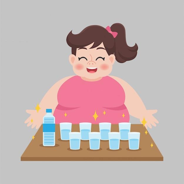 Big fat woman drinking fresh water Premium Vector
