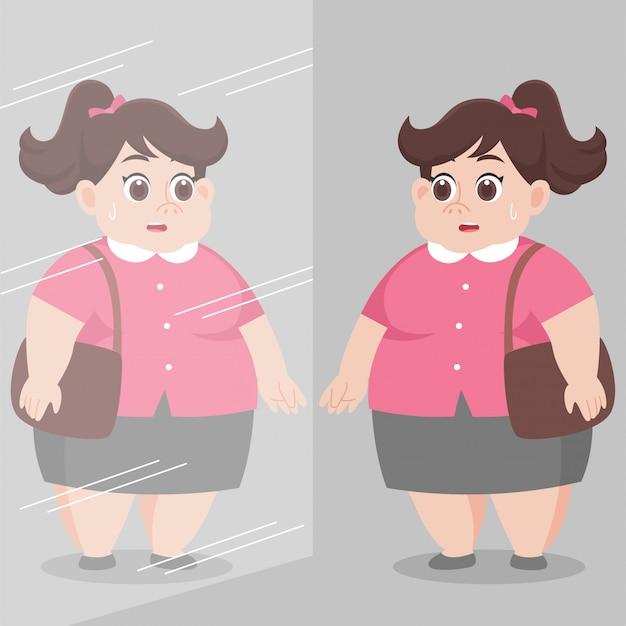 鏡で自分を見ている大きな太った女性と心配を感じる Premiumベクター
