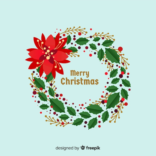 Big flower christmas wreath Free Vector