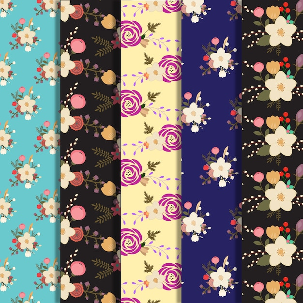 Big flowers pattern background collection Free Vector