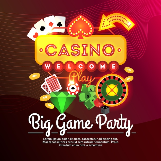 Big game party casino advertising poster Free Vector