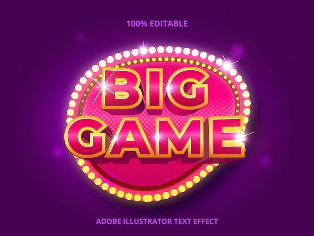 Большой текст игры, редактируемый текстовый эффект Premium векторы