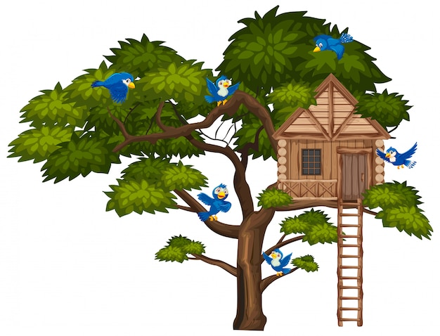 Big green tree and many blue birds flying over the treehouse Premium Vector