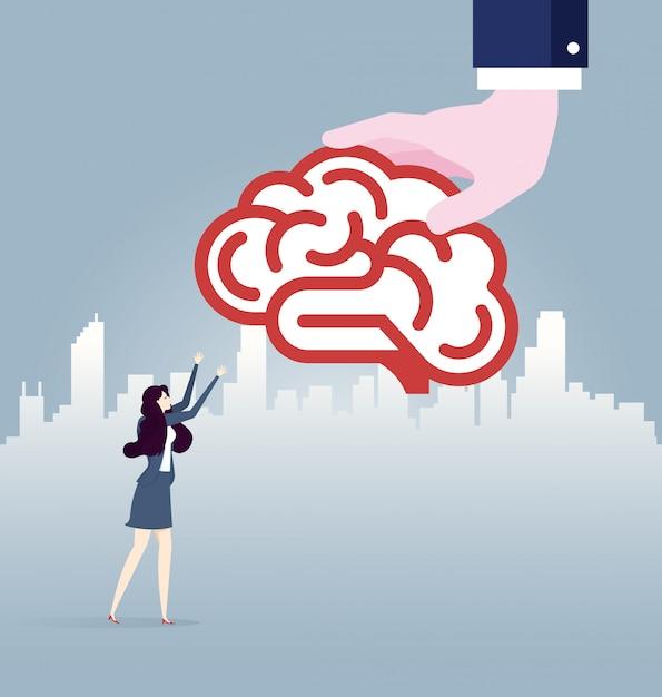 Big hand gives idea brain to businesswoman. business concept vector Premium Vector