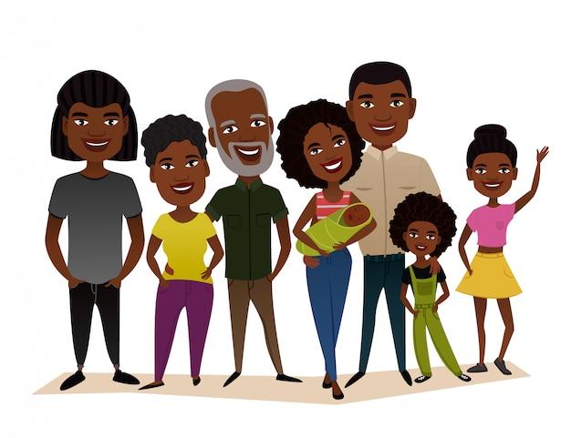 Big happy black family cartoon concept Premium Vector