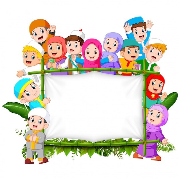 Premium Vector A Big Happy Family Are Holding The Jungle Wooden Frame