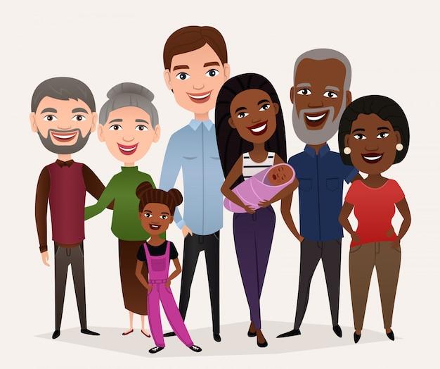 Big happy family cartoon concept Premium Vector