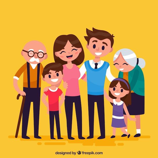 평면 디자인으로 큰 행복한 가족 무료 벡터