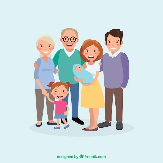 평면 디자인으로 큰 행복한 가족 프리미엄 벡터
