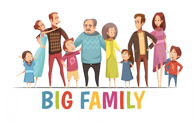 Big happy harmonious family portrait with grandparents two young couples and little children cartoon vector illustration Free Vector