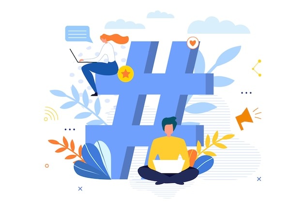 Big hashtag symbol with people chatting on laptop Premium Vector