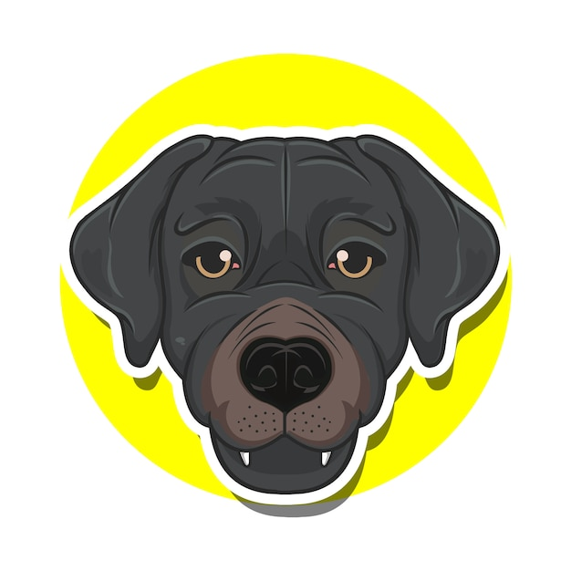 Big head dog cartoon Premium Vector