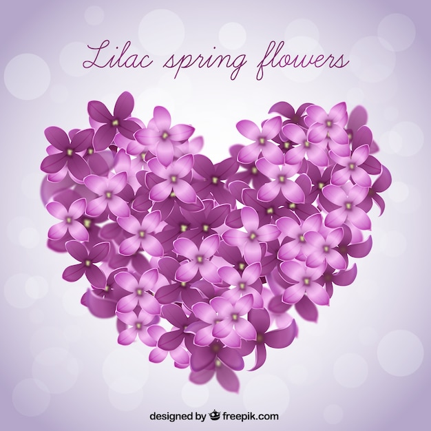 Big Heart Made Of Lilac Flowers Background Vector