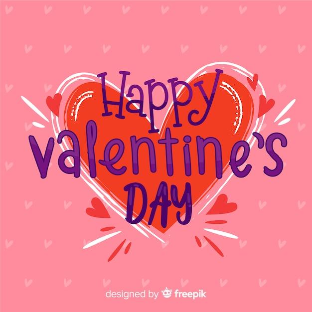 Big heart valentine's day background Free Vector