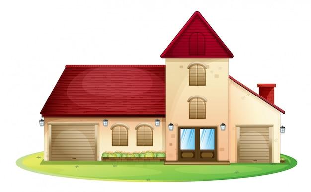Большой дом с красной крышей Бесплатные векторы