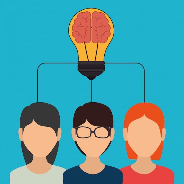 Big idea, creative and intelligence Premium Vector