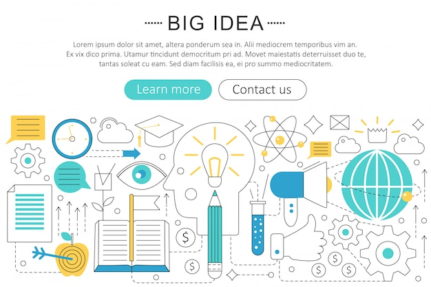 Big idea flat line concept Premium Vector