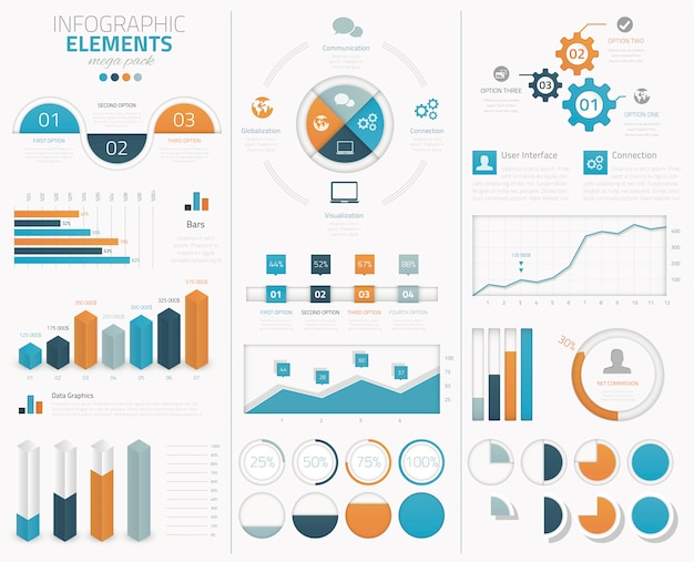 Big infographic vector elements collection to display data Premium Vector