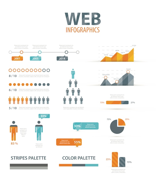 Big infographic vector illustration web element set Premium Vector