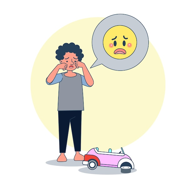 Big isolated boy crying because of broken toy car. illustration vector with white vackground Free Vector