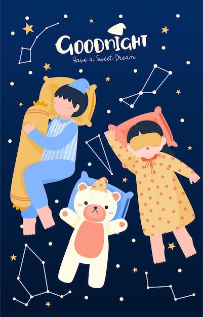 침대 방, 평면 그림에서 침대에서 자고 귀여운 아이의 큰 고립 된 만화 캐릭터 그림 무료 벡터
