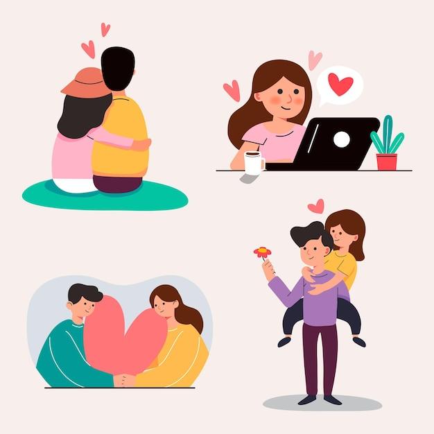 Большой изолированный мультфильм молодой девушки и мальчика в любви, пара обмена и заботливой любви, 3d иллюстрации Бесплатные векторы