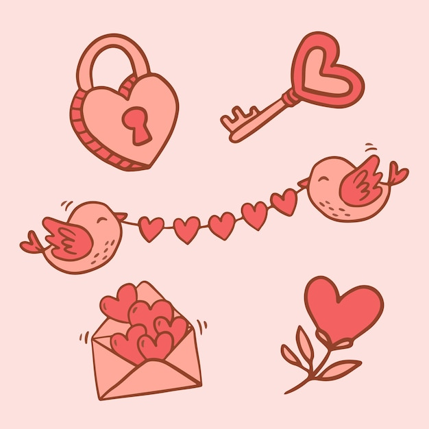 Big isolated hand drawn cartoon   character and element design animal in love, doodle style valentine concept flat   illustration Free Vector
