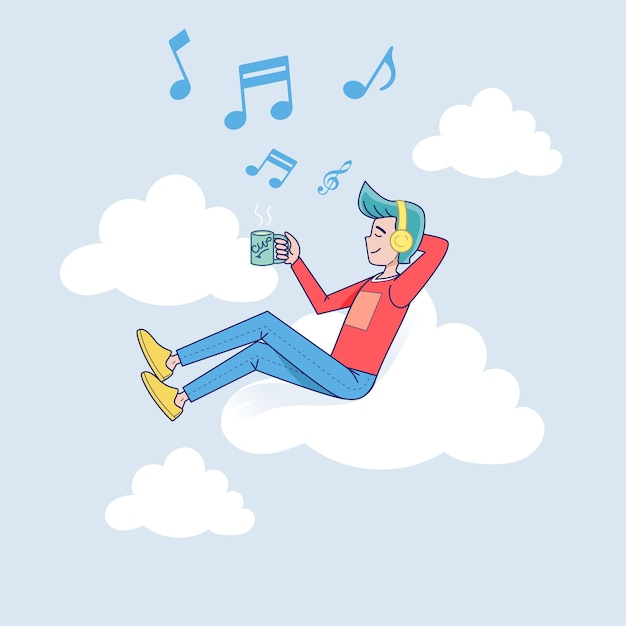 Big isolated man listening to music on headphone connected to cloud server with coffee. vector illustration cartoon character Free Vector