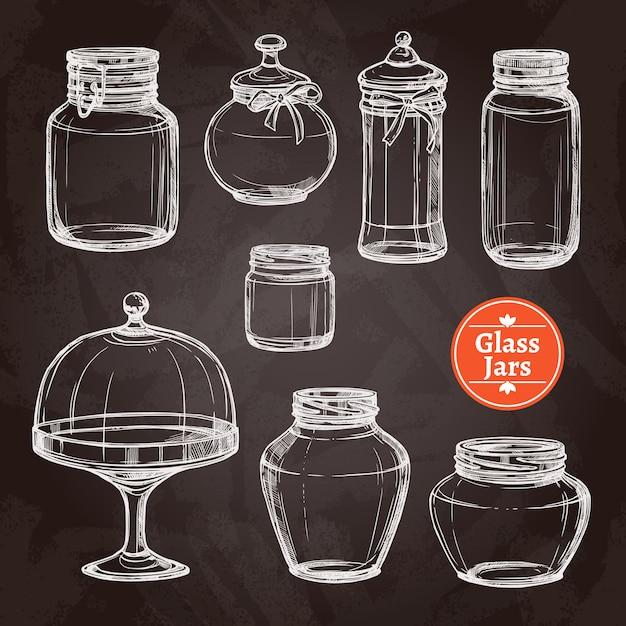 Big jar set Free Vector