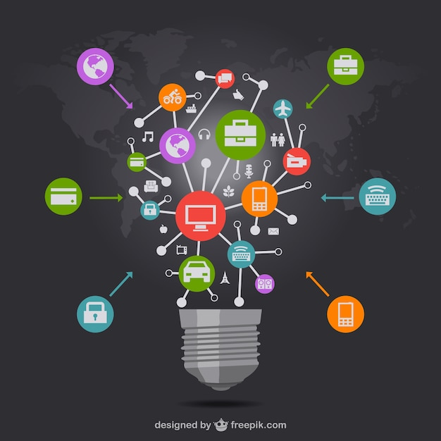 Big light bulb connected to business icons Free Vector