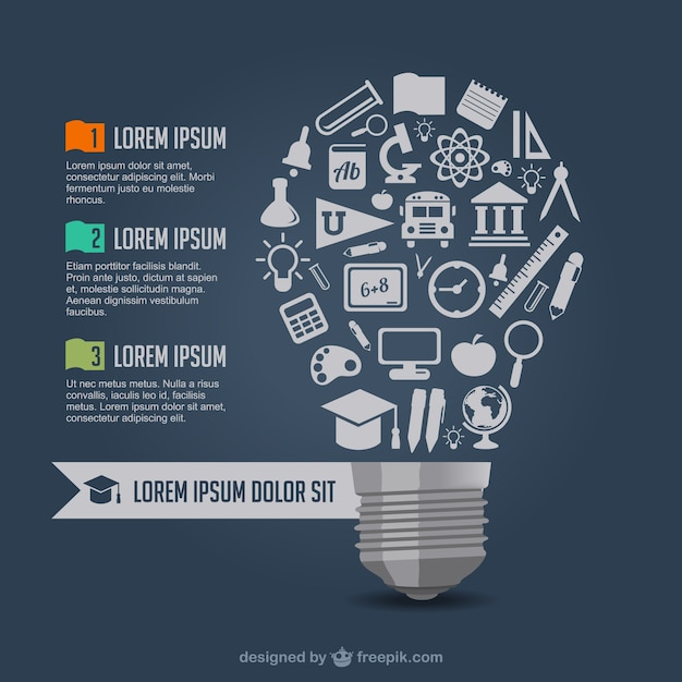 Big light bulb made of school elements Free Vector