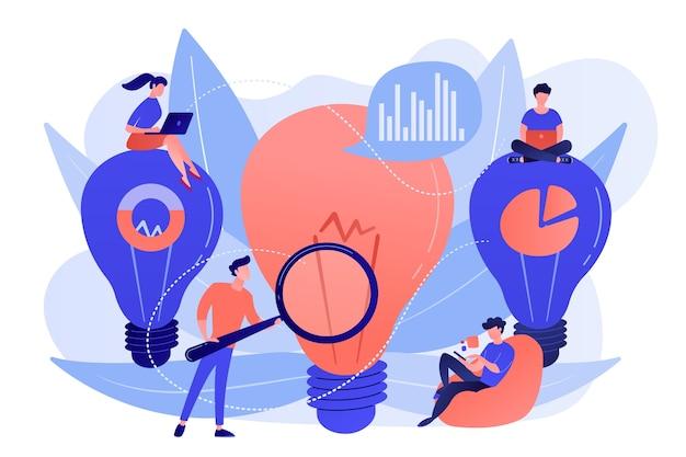 Большие лампочки и бизнес-команда работает над решением. бизнес-решение и поддержка, решение проблем и концепция принятия решений на белом фоне. Бесплатные векторы