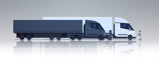 Big lorry semi truck trailers charging at electic charger station banner horizontal Premium Vector