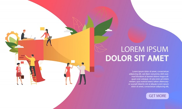 Big loudspeaker, business people working and sample text Free Vector