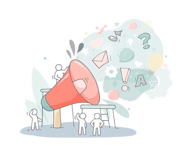 Большой динамик с работающими человечками. doodle милая миниатюра о бизнесе и совместной работе. ручной обращается мультфильм векторные иллюстрации. Premium векторы