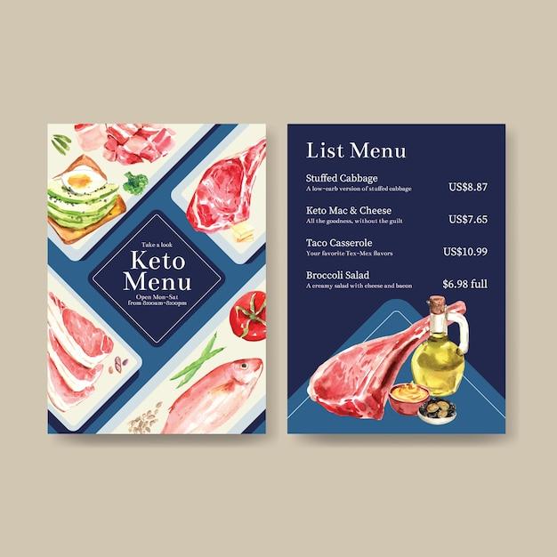 Большой шаблон меню с концепцией кетогенной диеты для акварельной иллюстрации ресторана и продовольственного магазина. Бесплатные векторы