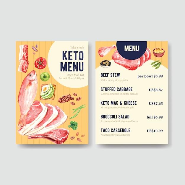 レストランや食品店の水彩イラストのケトン食療法の概念を持つ大きなメニューテンプレート。 無料ベクター