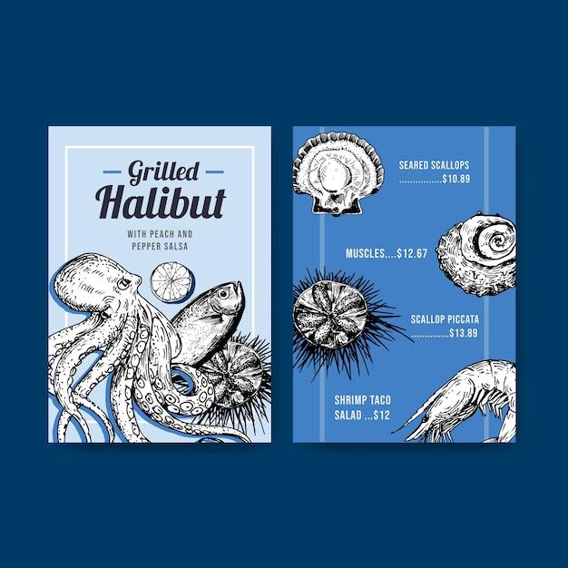 Modello di menu grande con concept design di frutti di mare per illustrazione di ristorante e negozio di alimentari Vettore gratuito