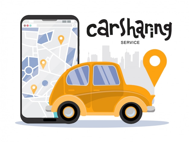Big mobile phone with map and city, car sharing service concept. side view of yellow small vintage vehicle. mobile app for renting car online. Premium Vector