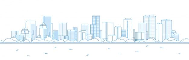 Big modern city skyscraper panoramic view Premium Vector