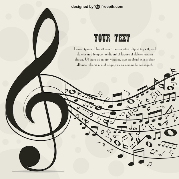 Big Music Key Background With Music Notes Vector | Free Download