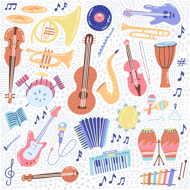 Big music set musical instrument and symbols icons collections Premium Vector