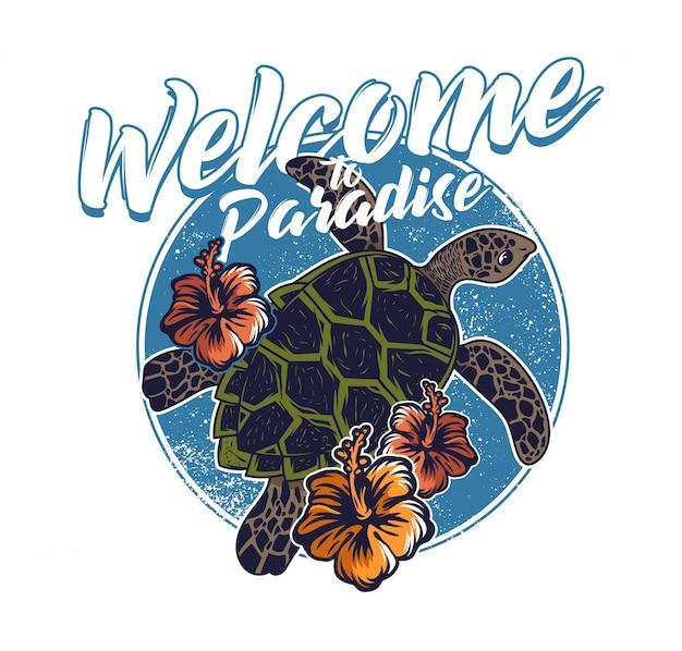 Big ocean sea wild turtle swimming blue water welcome to paradise Premium Vector
