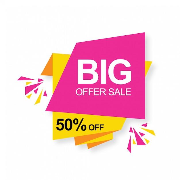Big offer sale 50% off banner Premium Vector