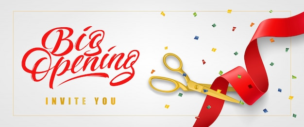 Big opening, invite you festive banner in frame with confetti and gold scissors Free Vector