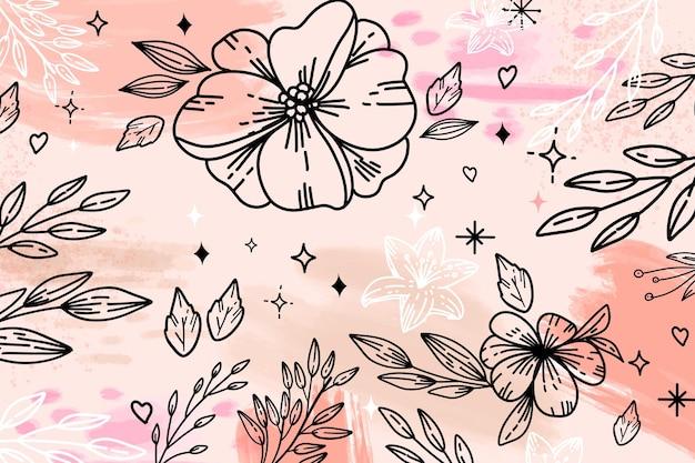 大きな輪郭の花と葉の水彩画の背景 無料ベクター