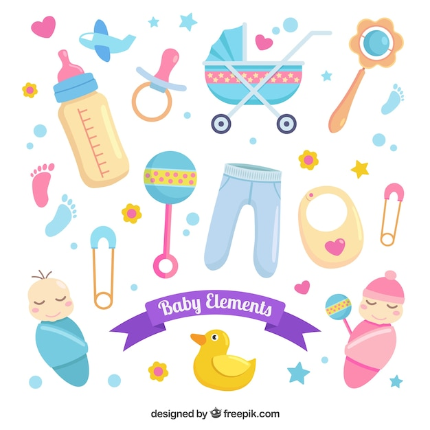 Big pack of baby elements Vector | Free Download