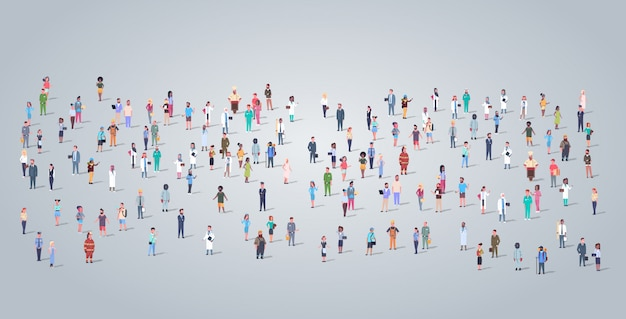 Big people group different occupation employees standing todether workers crowd labor day concept horizontal full length flat Premium Vector